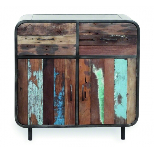 Industrial Living Havana Small Buffet Sideboard, Reclaimed Boat Wood and Steel, Brown