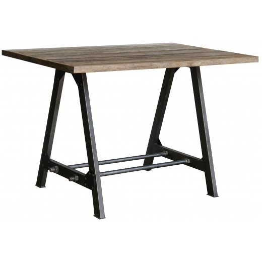 Industrial Living Home Office Desk, Reclaimed Teak Wood and Iron