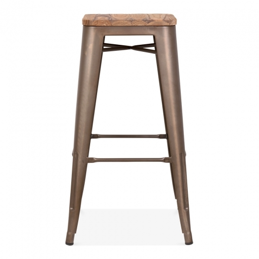Xavier Pauchard Tolix Style Stool with Wood Seat Option - Rustic 75cm - Clearance Sale