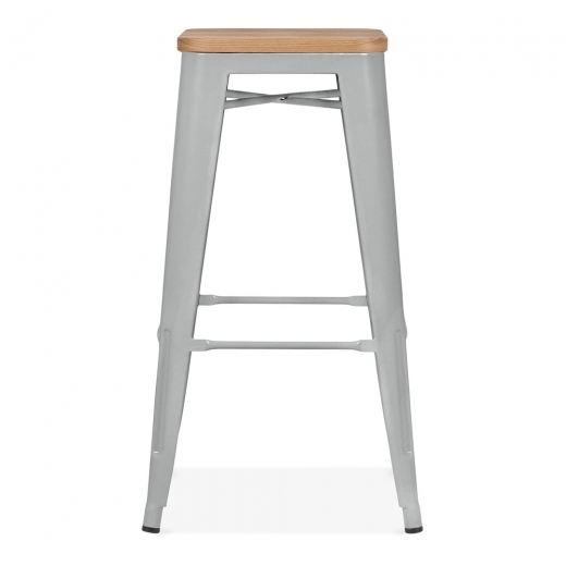 Xavier Pauchard Tolix Style Stool with Natural Wood Seat - Cool Grey Matte 75cm