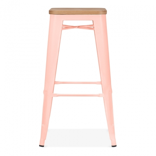 Xavier Pauchard Tolix Style Stool with Natural Wood Seat - Pastel Pink 75cm