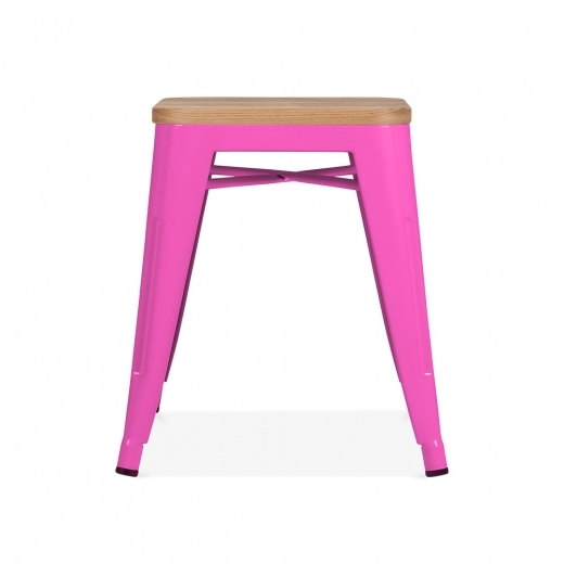 Xavier Pauchard Tolix Style Metal Low Stool with Natural Wood Seat - Hot Pink 45cm