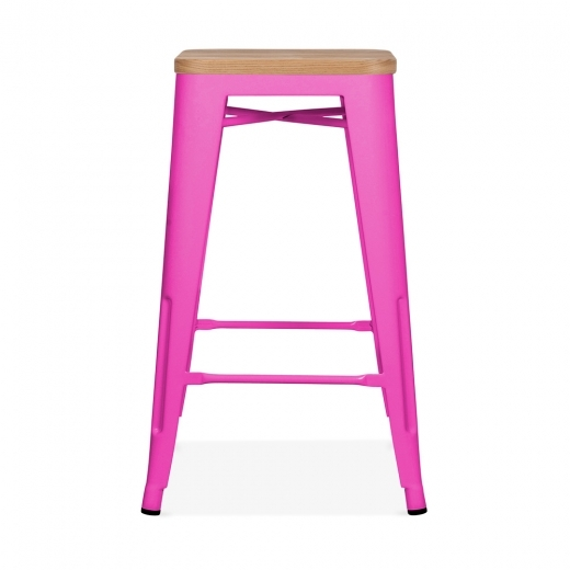 Xavier Pauchard Tolix Style Metal Stool with Natural Wood Seat - Hot Pink 65cm