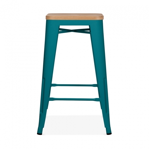 Xavier Pauchard Tolix Style Metal Stool with Natural Wood Seat - Teal 65cm