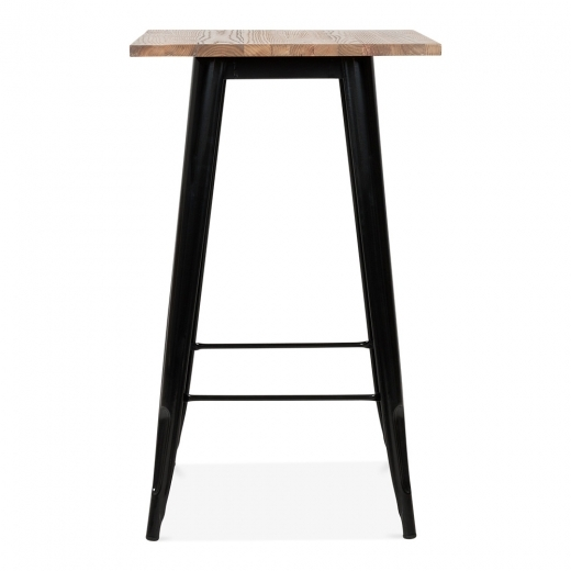 Cult Living Black Tolix Style Metal High Table with Wood Top, 102cm