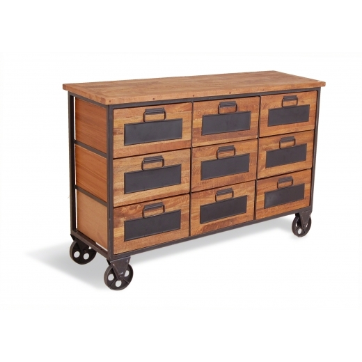 Industrial Living 9-Drawer Industrial Apothecary Chest, Mango Wood and Steel