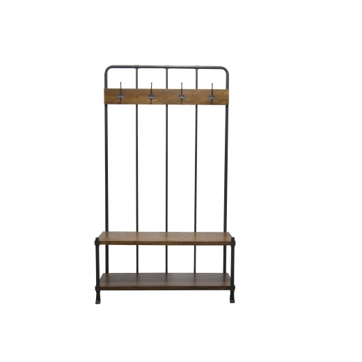 Industrial Living Hallway Coat Rack and Storage Bench, Mango Wood and Steel