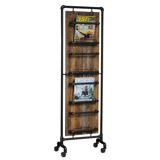 Industrial Living Tall Kitchen Storage Rack, Reclaimed Teak Wood and Pipe