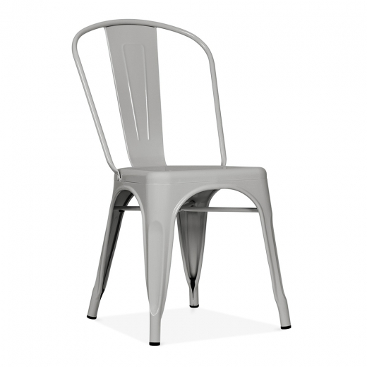 Xavier Pauchard Tolix Style Metal Side Chair - Matte Cool Grey