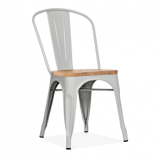Xavier Pauchard Tolix Style Metal Side Chair With Natural Wood Seat - Matte Cool Grey