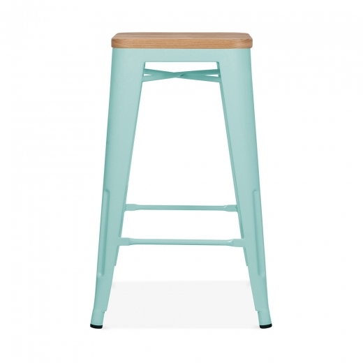 Xavier Pauchard Tolix Style Stool with Natural Wood Seat - Duck Egg 65cm