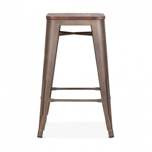 Xavier Pauchard Tolix Style Metal Stool with Wood Seat Option - Rustic 65cm - Clearance Sale