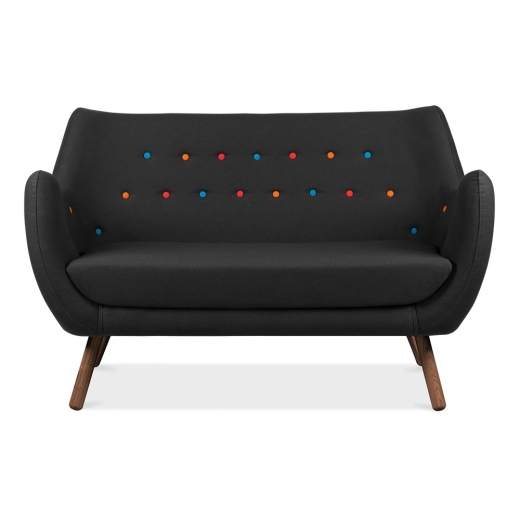 Cult Living Poet 2 Seater Sofa - Black / Multicolour Buttons