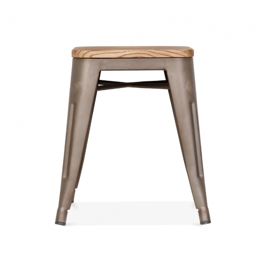 Xavier Pauchard Rustic Tolix Style Low Stool with Wood Seat, 45cm