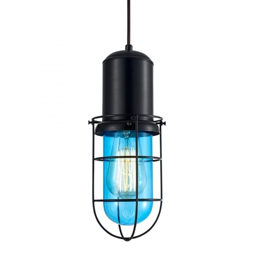 Cult Living Portside Caged Pendant Light - Bright Blue
