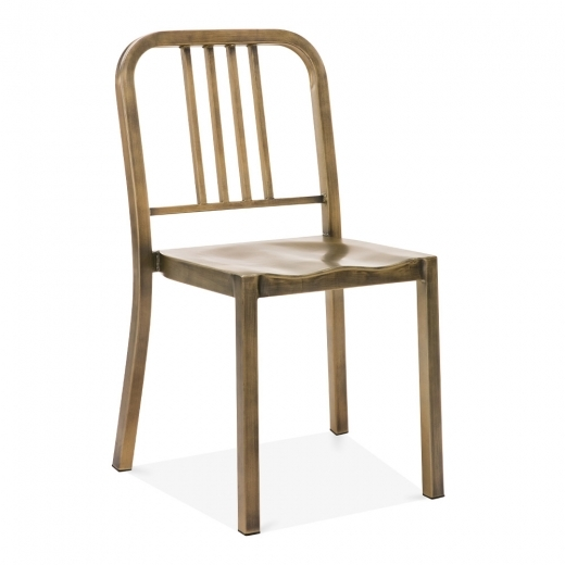 Navy Style Metal Dining Chair 1006 - Antique Brass