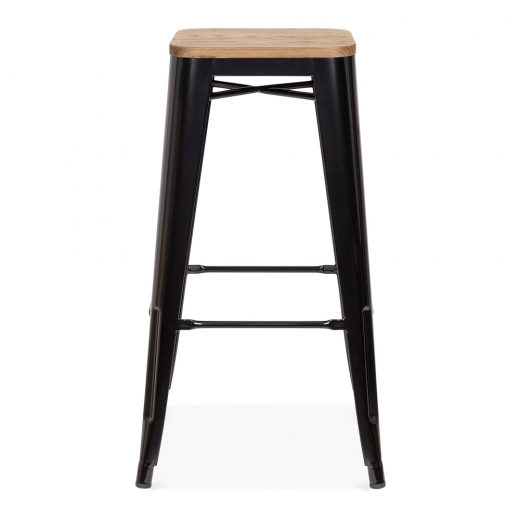 Xavier Pauchard Tolix Style Stool With Wood Seat option - Black 75cm