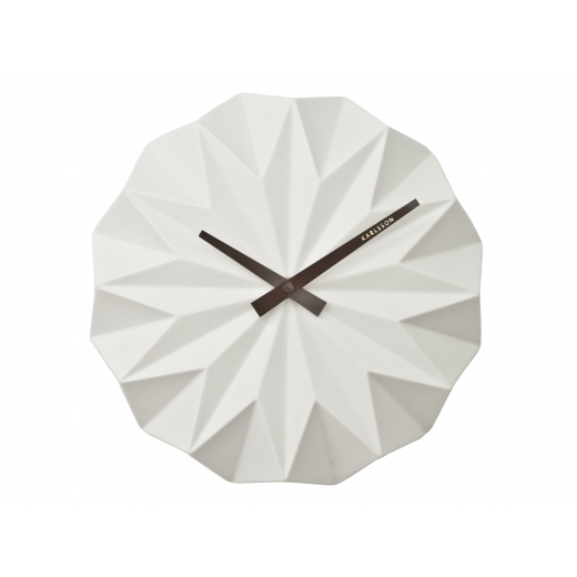Present Time Origami Style Ceramic Wall Clock - White