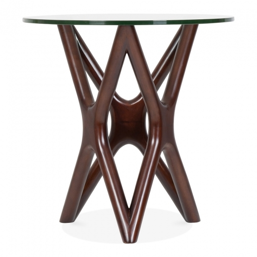 Cult Living Star Glass Top Side Table - Walnut 56cm