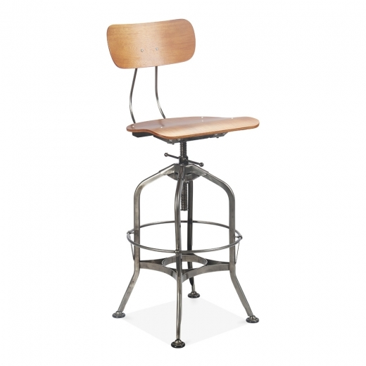 Toledo Style Swivel Bar Stool - Gunmetal 64-74cm