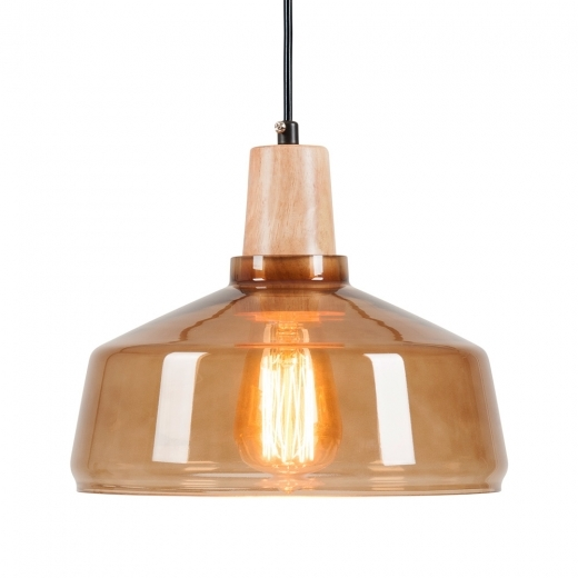 Cult Living Aalborg Glass Dome Pendant Light - Wood / Coffee