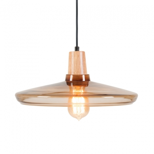 Cult Living Aalborg Glass Round Pendant Light - Wood / Coffee - Clearance Sale