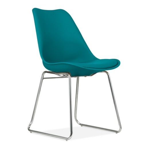 Eames Inspired Dining Chairs with Soft Pad Seat - Ocean Blue