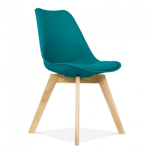 Eames Inspired Dining Chairs With Solid Oak Crossed Wood Leg Base - Ocean Blue