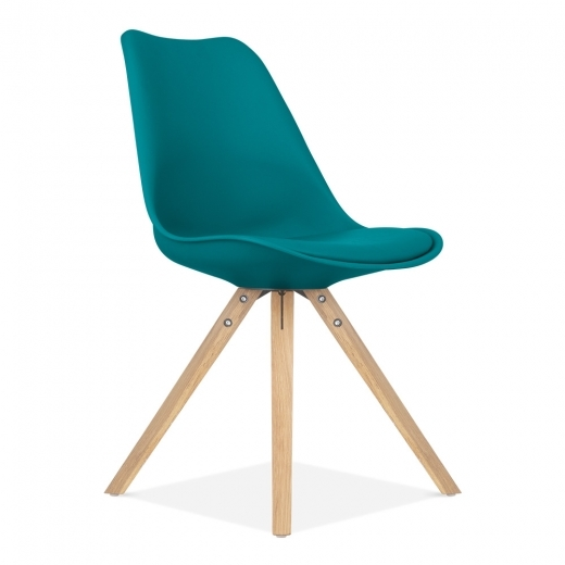 Eames Inspired Dining Chair with Pyramid Style Solid Oak Wood Legs - Ocean Blue