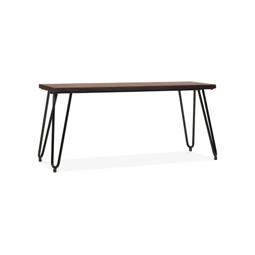 Cult Living Hairpin Metal Bench with Solid Wood Seat - Black 100cm