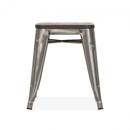 Xavier Pauchard Tolix Style Metal Stool with Solid Elm Wood Seat - Gunmetal 45cm