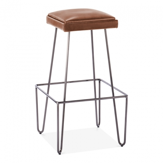 Cult Living Newton Metal Bar Stool with Leather Cushion Seat - Brown 76cm