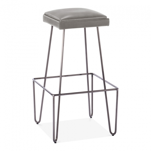 Cult Living Newton Metal Bar Stool with Leather Cushion Seat - Grey 76cm