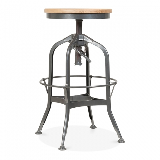 Toledo Style Pump Action Round Stool, Solid Oak Seat, Gunmetal 64-74cm