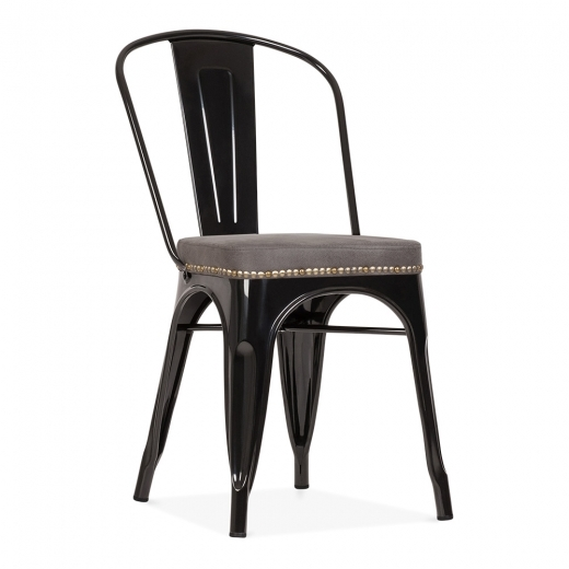 Xavier Pauchard Tolix Style Metal Side Chair with Cushion Colour Option - Black