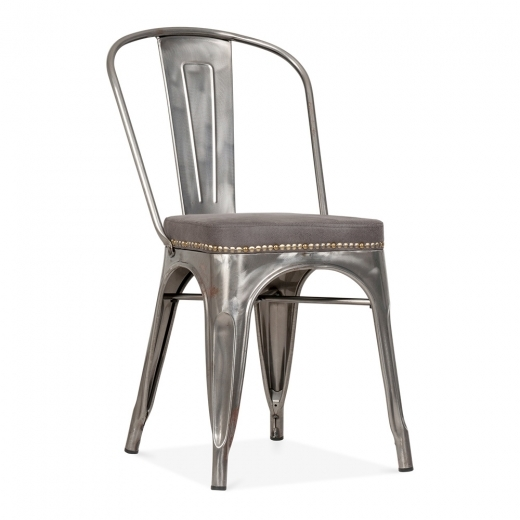 Xavier Pauchard Tolix Style Metal Side Chair with Cushion Colour Option - Gunmetal