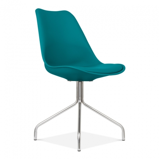 Eames Inspired Dining Chairs With Metal Cross Legs - Ocean Blue