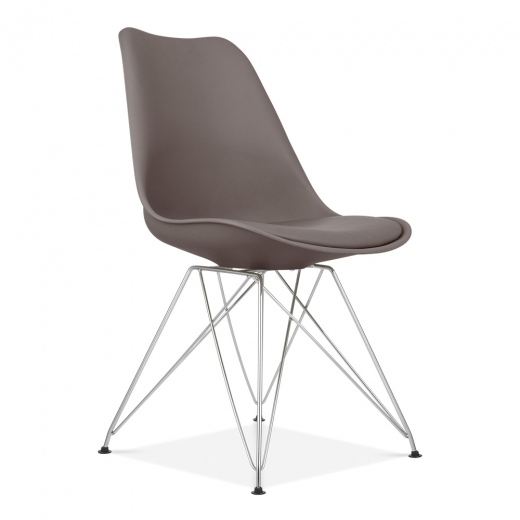 Eames Inspired Dining Chair with Eiffel Metal Legs - Warm Grey