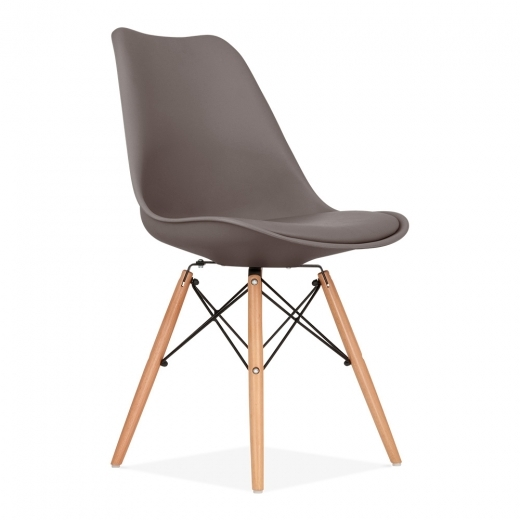 Eames Inspired Dining Chair with DSW Style Wood Legs - Warm Grey