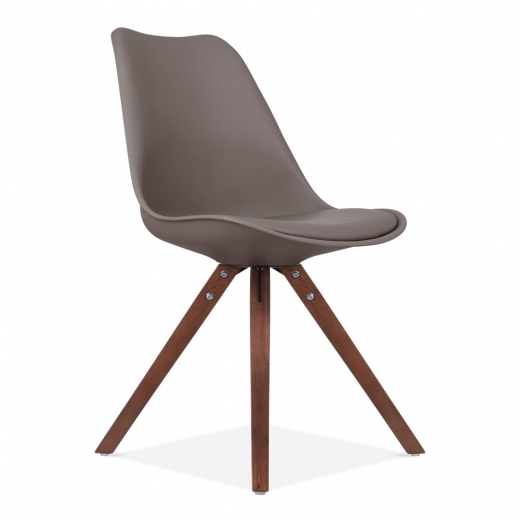 Eames Inspired Dining Chair with Pyramid Style Solid Oak Wood Legs - Warm Grey