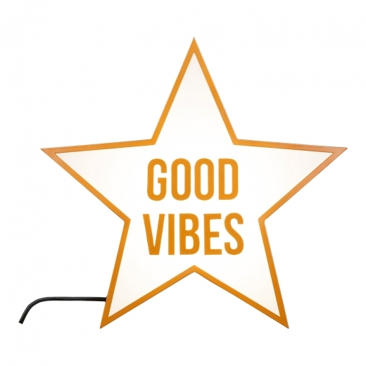Cult Living Good Vibes Metal Star Light Box - Copper