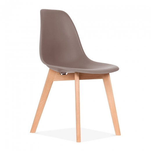 Eames Inspired DSW Dining Chair with Crossed Wood Legs - Warm Grey