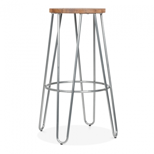 Cult Living Hairpin Stool with Wood Seat Option - Galvanised 76cm