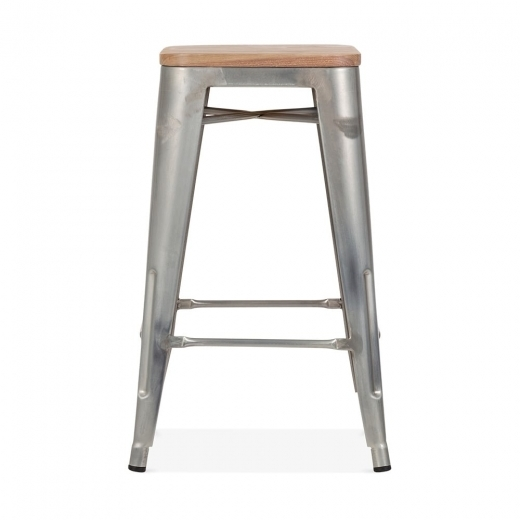 Xavier Pauchard Tolix Style Stool with Natural Wood Seat - Galvanised 65cm