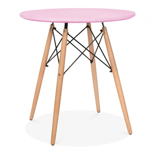Iconic Designs Pastel Pink DSW Dining Round Table - Diameter 70cm