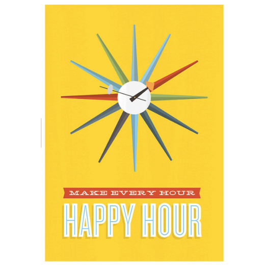 Jan Skacelik Happy Hour Retro Framed Jan Skacelik Print - Yellow