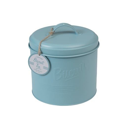 Rex Retro Embossed Biscuit Tin, Powder Blue