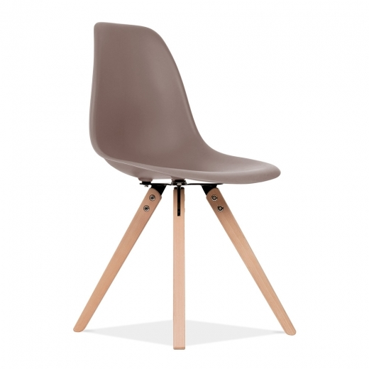 Eames Inspired DSW Dining Chair with Pyramid Wood Legs - Warm Grey