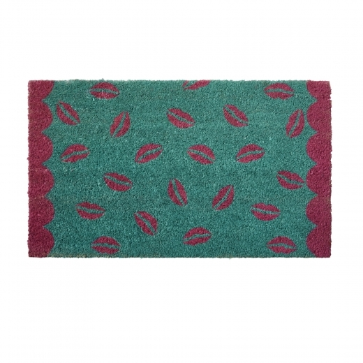 Rice Kiss Print Coir Door mat - Turquoise