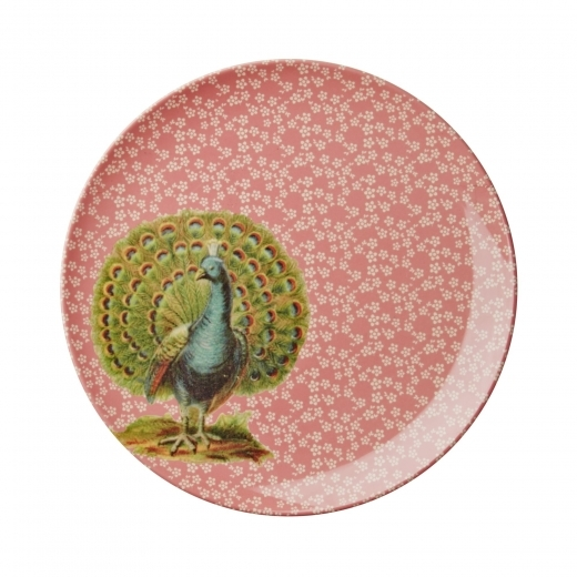 Rice Melamine Side Plate with Peacock Print - Pink